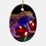 Christmas Beardie Ceramic Oval Decoration