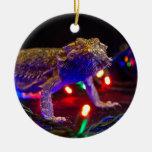 Christmas Beardie Round Ceramic Decoration