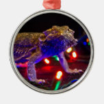 Christmas Beardie Round Metal Christmas Ornament
