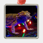 Christmas Beardie Silver-Colored Square Decoration