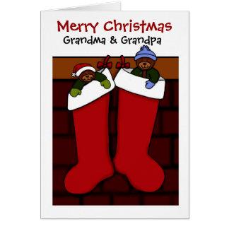 Christmas bears for grandma and grandpa greeting card