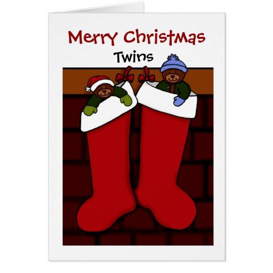 Christmas bears in stockings twins card