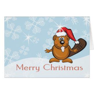 christmas beaver greeting card