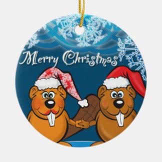 christmas beavers round ceramic decoration