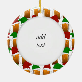 Christmas Beer Cheer Round Ceramic Decoration
