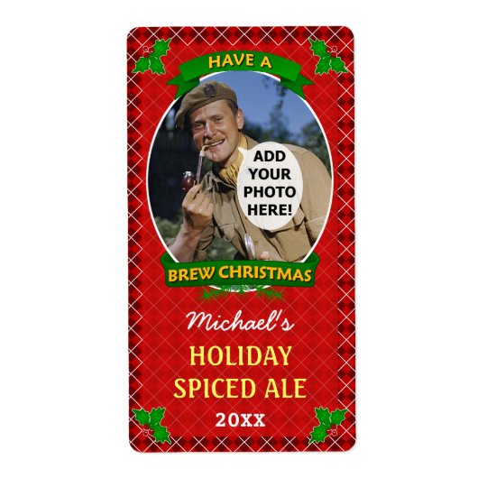 Christmas Beer Custom Photo Red Argyle Homebrewing