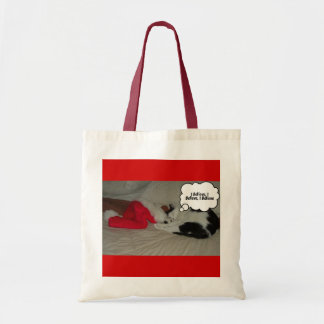 Christmas Believe Black and White Kitten Bags