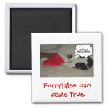 Christmas Believe Black and White Kitten Square Magnet