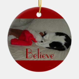 Christmas Believe Kitty Cat Christmas Ornament