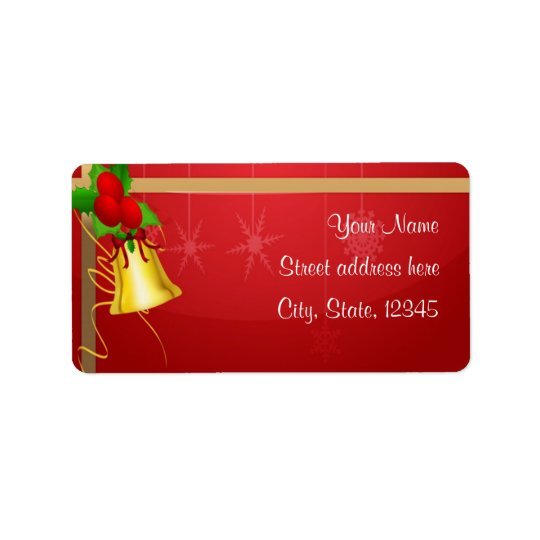 Christmas Bell and Ribbon Address Label