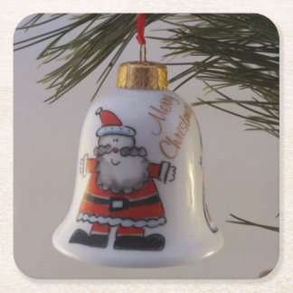 Christmas Bell Bauble Square Paper Coaster