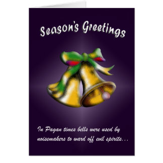 Christmas Bell (Gold/Purple) Greeting Cards