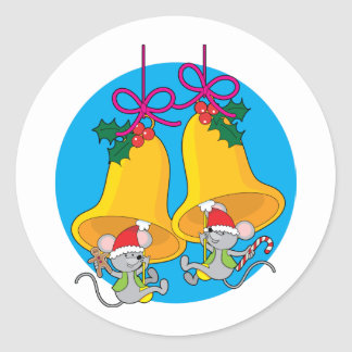 Christmas Bell Mice Classic Round Sticker