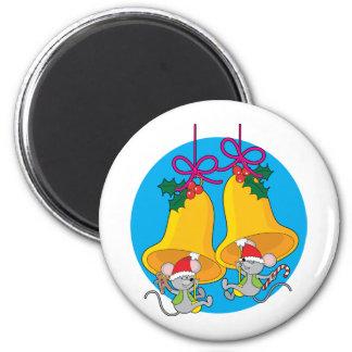 Christmas Bell Mice Fridge Magnets
