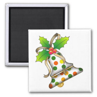 Christmas Bell with Holly-12 Square Magnet