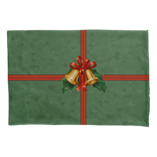 Christmas Bells and Holly Leaves Green Pillowcase