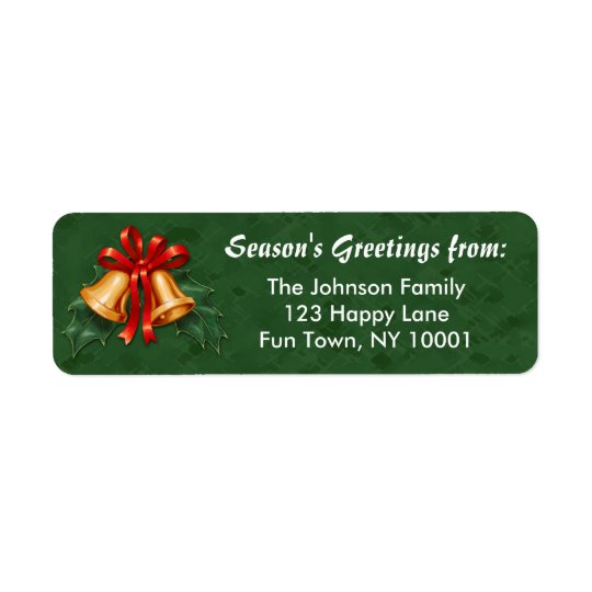 Christmas Bells and Holly Leaves Green Return Address Label