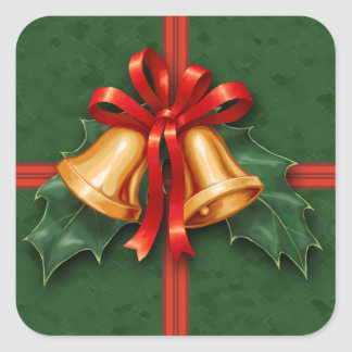 Christmas Bells and Holly Leaves Green Square Sticker