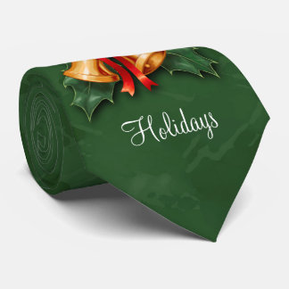 Christmas Bells and Holly Leaves Green Tie