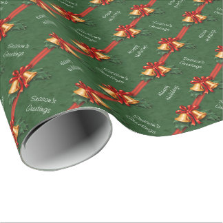 Christmas Bells and Holly Leaves Green Wrapping Paper