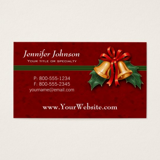 Christmas Bells and Holly Leaves Red Business Card