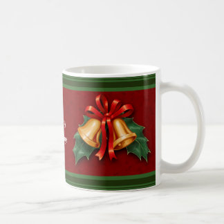 Christmas Bells and Holly Leaves Red Coffee Mug