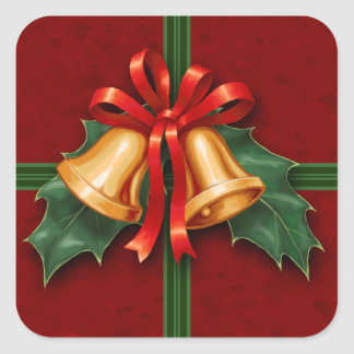 Christmas Bells and Holly Leaves Red Square Sticker