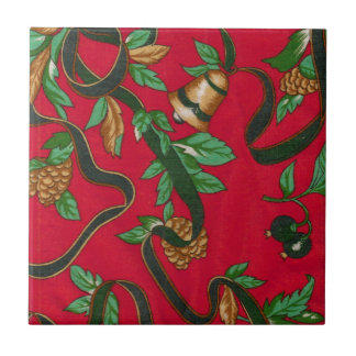 Christmas Bells and Pine Cones Small Square Tile