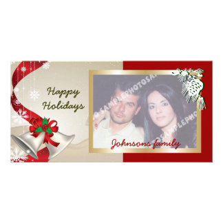 Christmas Bells And Ribbons Photo Card