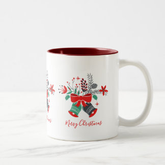Christmas Bells Bouquet Merry Christmas Typography Two-Tone Coffee Mug