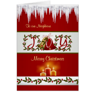 Christmas bells, holly and candles Neighbour Card
