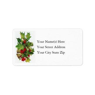 Christmas Bells & Holly Vintage Address Label