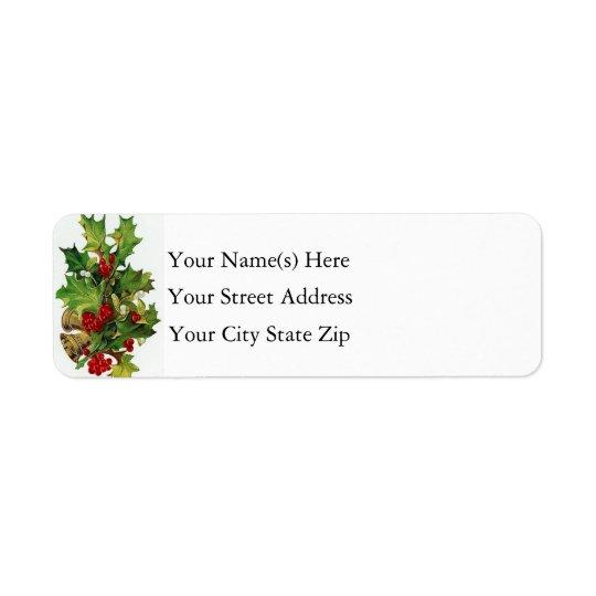 Christmas Bells & Holly Vintage Return Address Label