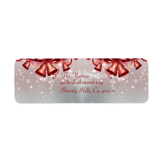 Christmas Bells In Red & Silver Return Address Label