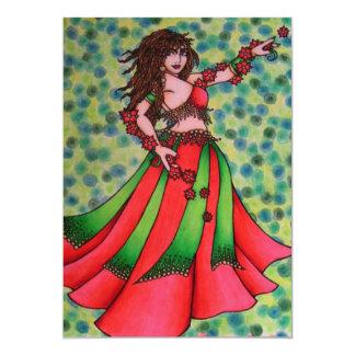 Christmas Belly Dancer 13 Cm X 18 Cm Invitation Card