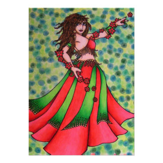 Christmas Belly Dancer Custom Announcements