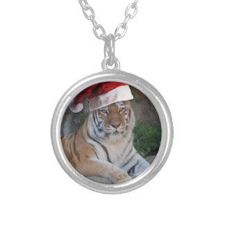 Christmas Bengal Tiger Silver Plated Necklace