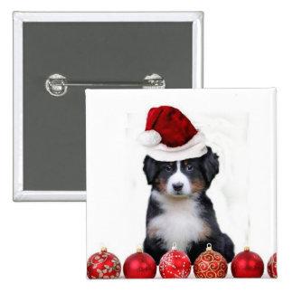Christmas Bernese Mountain Dog Pinback Button