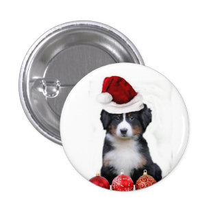 Christmas Bernese Mountain Dog Pinback Buttons