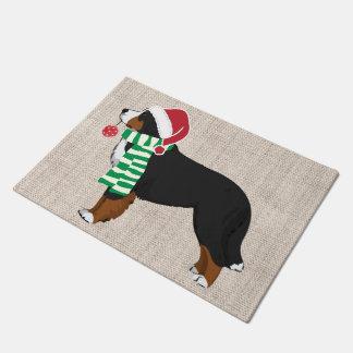 Christmas Bernese Mountain Dog Burlap Doormat