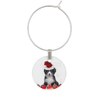 Christmas Bernese Mountain Dog Wine Charm