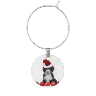 Christmas Bernese Mountain Dog Wine Glass Charm