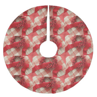 Christmas berries and wreath on plaid brushed polyester tree skirt