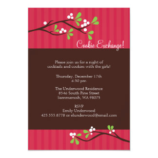 Christmas Berry Branch Party Invitation
