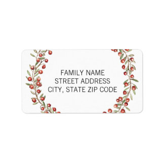 Christmas Berry Wreath | Return Address Label