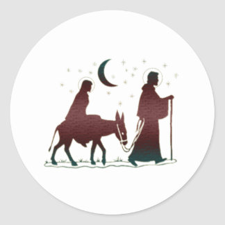 Christmas Bethlehem Art Classic Round Sticker