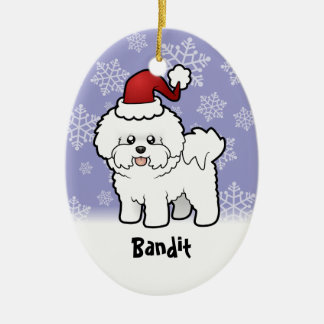 Christmas Bichon Frise (add your pets name) Ceramic Oval Decoration