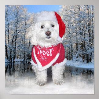 Christmas Bichon Frise Dog Poster