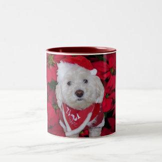 Christmas Bichon Frise Dog Two-Tone Coffee Mug