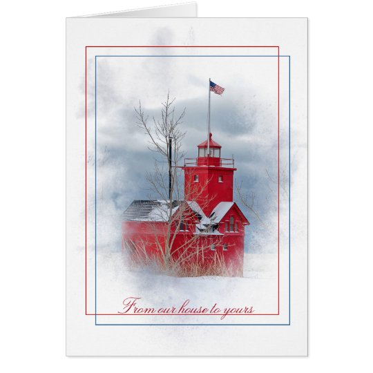 Christmas Big Red lighthouse in winter Card